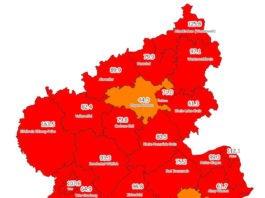 Neuinfektionen pro 100.000 Einwohner in den letzten 7 Tagen, Grafik vom 28.10.2020 (Quelle: MdI)
