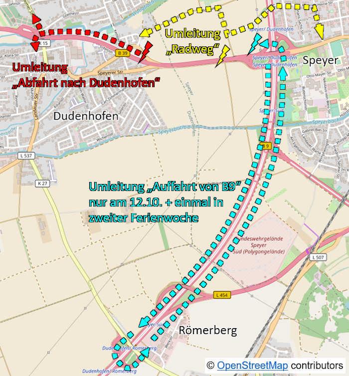 Auffahrt auf die B 39, von der B 9 aus Richtung Ludwigshafen kommend und in Richtung Neustadt fahrend, voll gesperrt. (Quelle: LBM Speyer)