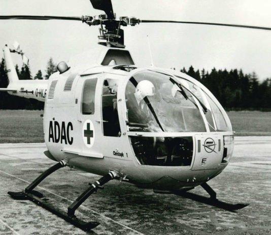 """Start als ADAC Rettungshubschrauber """"Christoph 1"""" im Jahr 1970: die erste BO105 in München (Foto: ADAC SE)"""