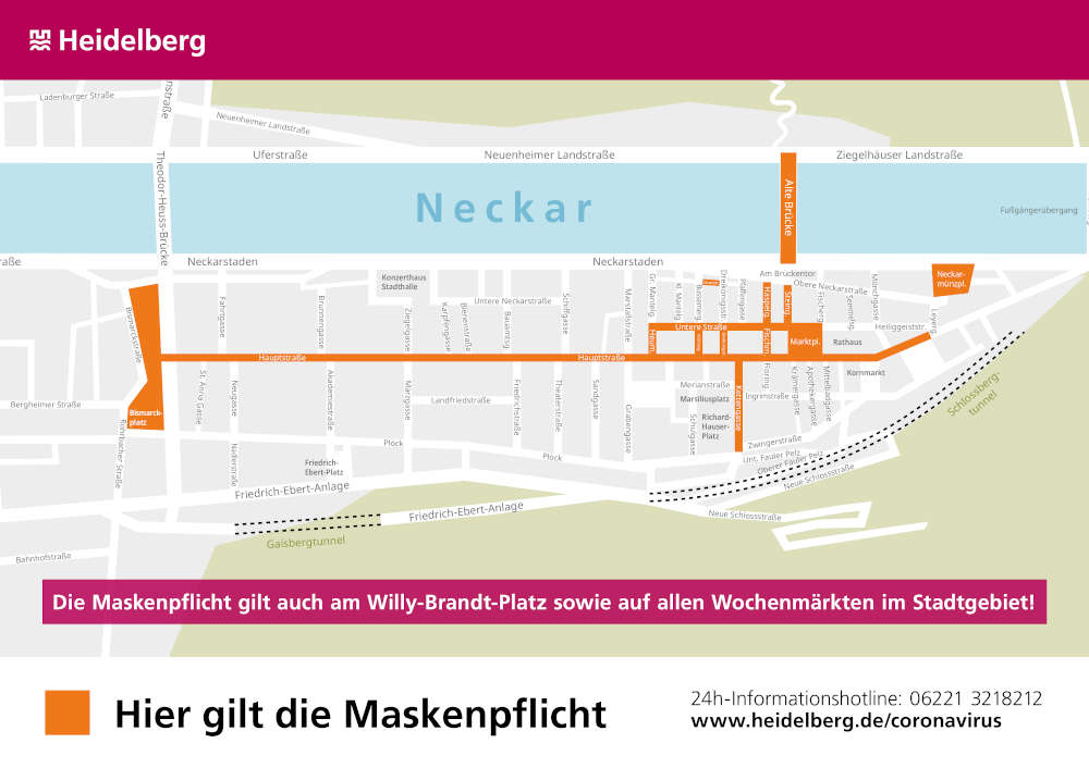 Geltungsbereich der Maskenpflicht in Heidelberg ab dem 16. Oktober 2020 (Foto: Stadt Heidelberg)