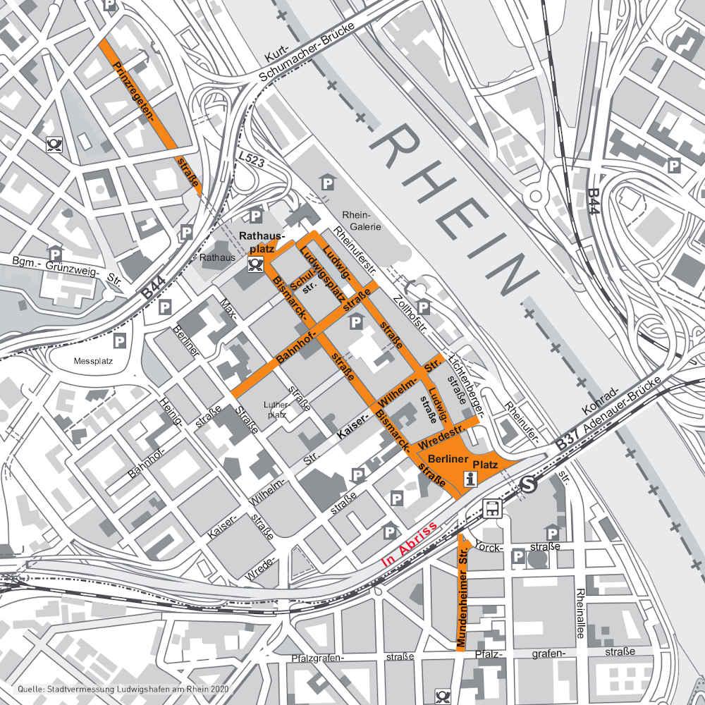 Karte Maskenpflicht (Quelle: Stadt Ludwigshafen)