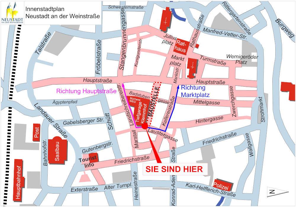 Fußgängerumleitung-Standort Klemmhof - Laustergasse (Quelle: Stadtverwaltung Neustadt)