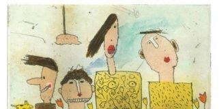 """Janosch: """"Eine Familie steht ihren Mann"""", Signierte und numerierte Farbradierung von Janosch, Format 9,9 x 14,7 cm, Druckauflage 30 Expl."""