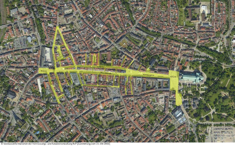 Allgemeinverfügung Speyer – Pflicht zum Tragen einer Mund-Nasen-Bedeckung im Innenstadtbereich (Quelle: Geobasisinformationen der Vermessungs- und Katasterverwaltung RLP)