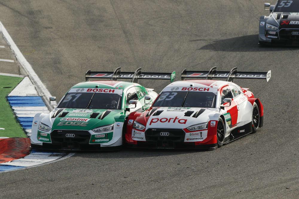 Hartes Titelduell: Nico Müller (SUI, #51 Audi) und René Rast (GER, #33 Audi) (Foto: DTM)