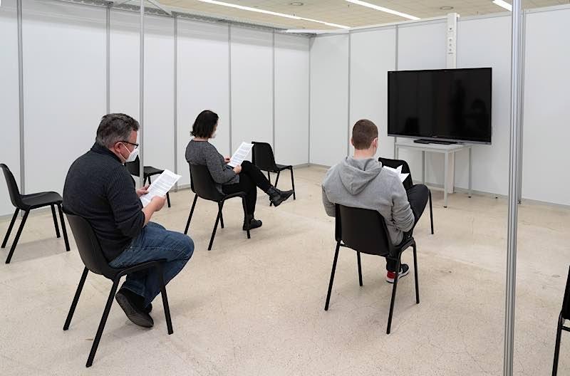 Gruppenaufklärung mittels Informationsvideo  (Foto: Landratsamt Rhein-Neckar-Kreis)