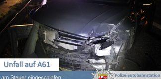 Unfall auf der A 61 (Foto: Polizei RLP)
