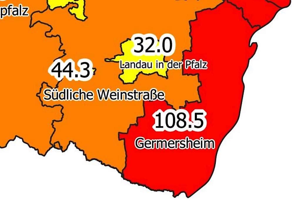 Inzidenzzahlen am 19.02.2021 (Quelle: MdI RLP)