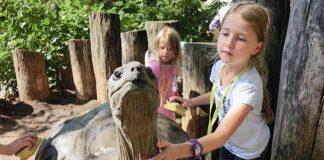 Ferienkinder bei den Riesenschildkröten im Zoo Heidelberg (Archivfoto: Zoo Heidelberg)