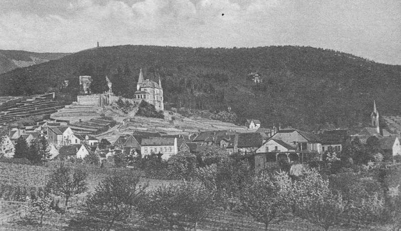 Blick auf Haardt und das Haardter Schloss bei Neustadt im Jahr 1910 (Quelle: alte Ostkarte/Bildautor unbekannt)