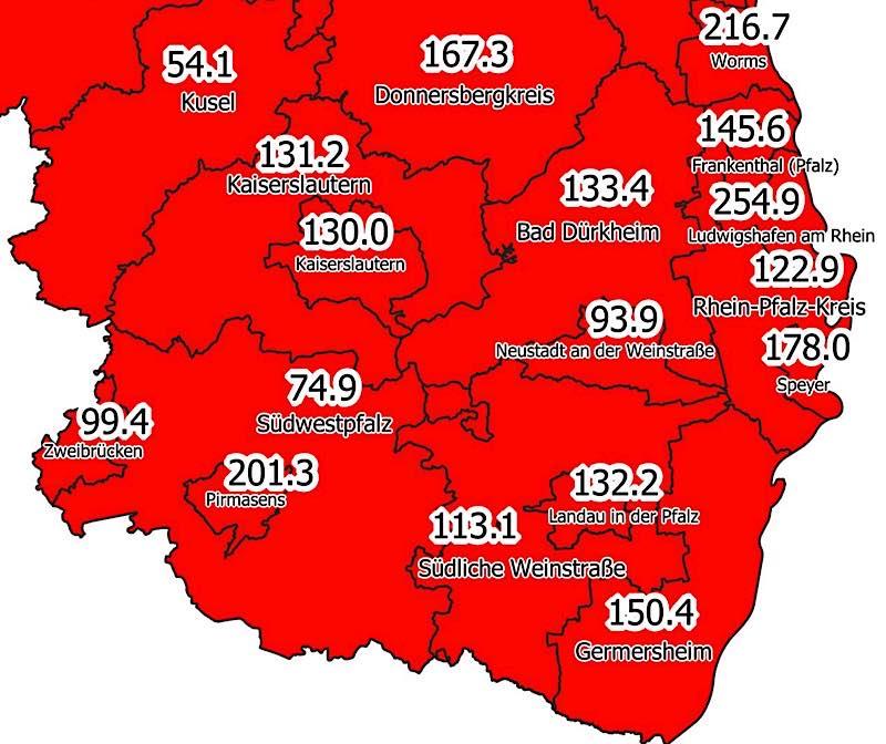 7-Tage-Inzidenz am 20.04.2021 (Quelle: MdI)