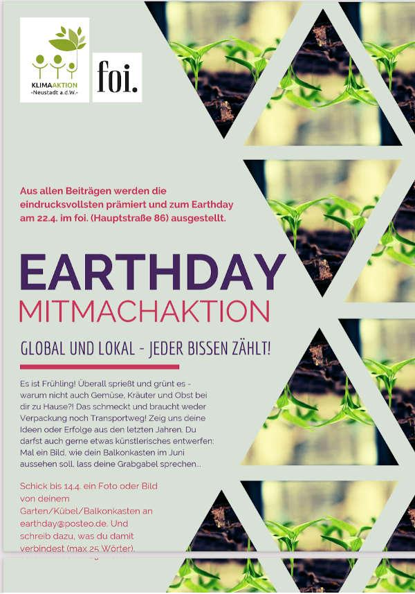 Earthday-Plakat (Quelle: Klimaaktion Neustadt)
