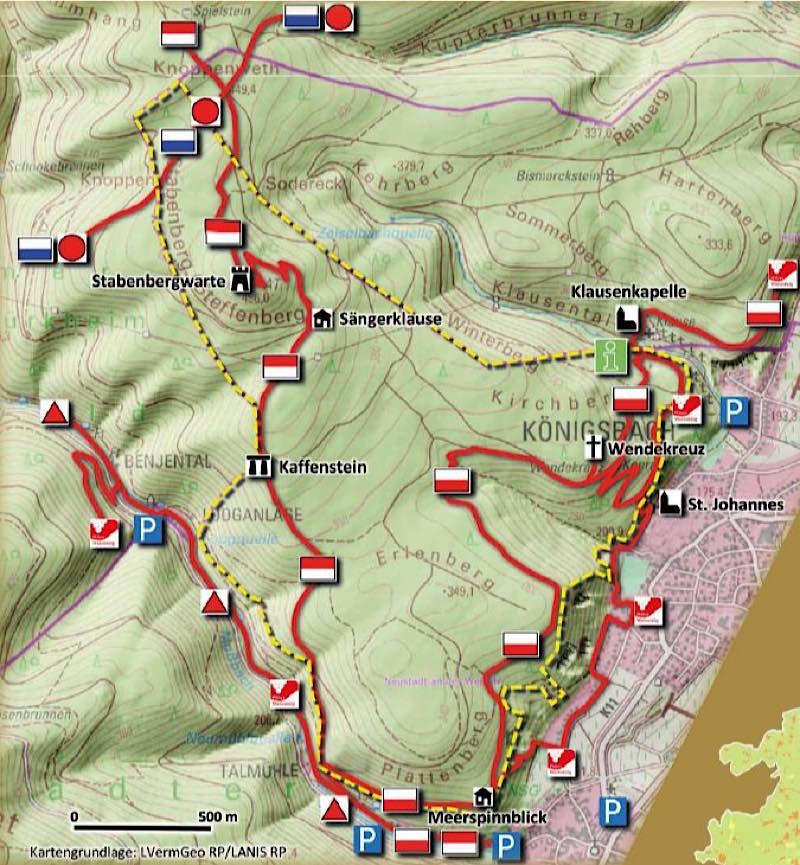 Karte Kernzone Stabenberg - gelb Abgrenzung Kernzone (Quelle: Stadtverwaltung Neustadt)