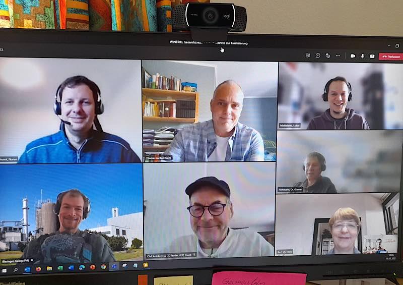 Nur mit Videokonferenzen konnten die Abstimmungen erfolgen. Im Bild die Mitglieder des Steuerkreis und Mitarbeiter der EurA AG (Quelle: TRK GmbH)