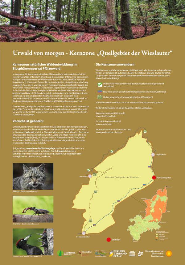 """Eines der vier an der Kernzone """"Quellgebiet der Wieslauter"""" aufgestellten Schilder (Quelle: Biosphärenreservat)"""