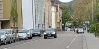 Schutzstreifen mit Fahrradpiktogramm in der Konrad-Adenauer-Straße (Foto: S. Abel)