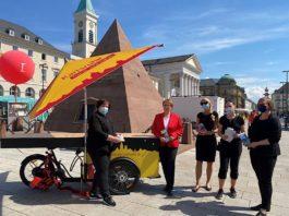 Vorstellung des Lastenfahrrads (Foto: KTG Karlsruhe Tourismus GmbH)
