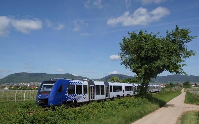 Elsass-Express der vlexx in der Südpfalz auf dem Weg nach Wissembourg (Foto: Fritz Engbarth)