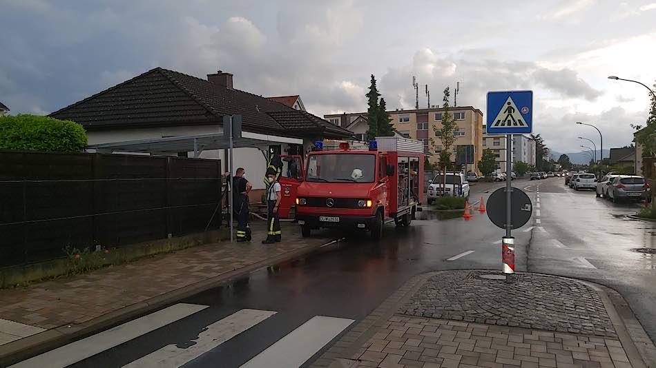 Einsatz im Ortsgebiet (Foto: Feuerwehr Haßloch)
