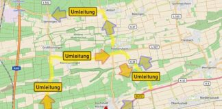 Vollsperrung der B 272 bei Hochstadt (Quelle: LBM Speyer)