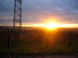 Sonnenuntergang über dem Rheitnal, von Heidelberg-Emmertsgrund aus gesehen (Foto: Hannes Blank)