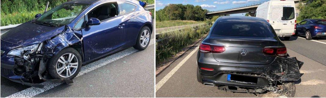 Zwei unfallbeteiligte Fahrzeuge (Foto: Polizei RLP)