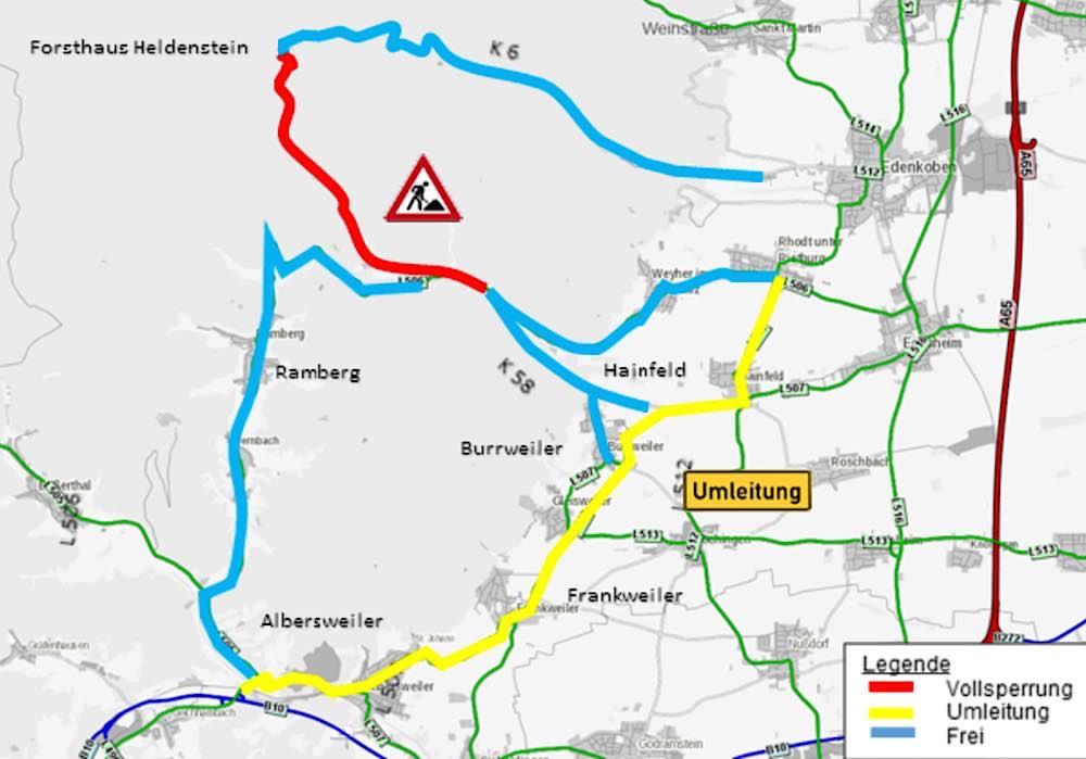 Sperrung- und Umleitungsplan (Foto: LBM Speyer)